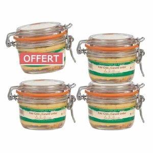 4 bocaux de foie gras de canard entier 130g pour le prix de 3