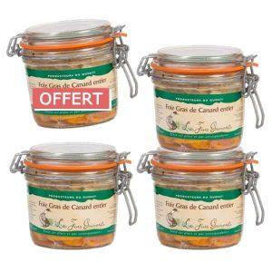 4 bocaux de foie gras de canard entier 320g pour le prix de 3