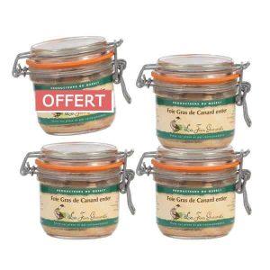 4 bocaux de foie gras de canard entier 180g pour le prix de 3