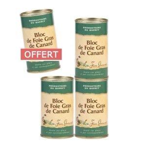 4 boites de bloc de foie gras 190g pour le prix de 3